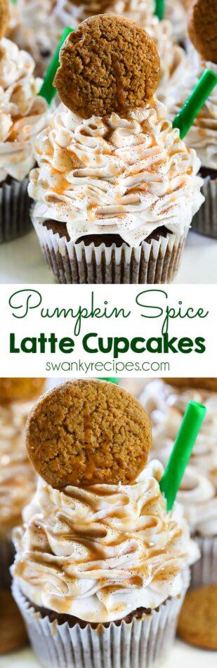 Pumpkin Spice Latte Cupcakes - A Starbucks dessert recipe. Everyone loves these Starbucks Pumpkin Spice Latte Cupcakes. Made with caramel sauce and pumpkin, these cupcakes are the perfect fall dessert.