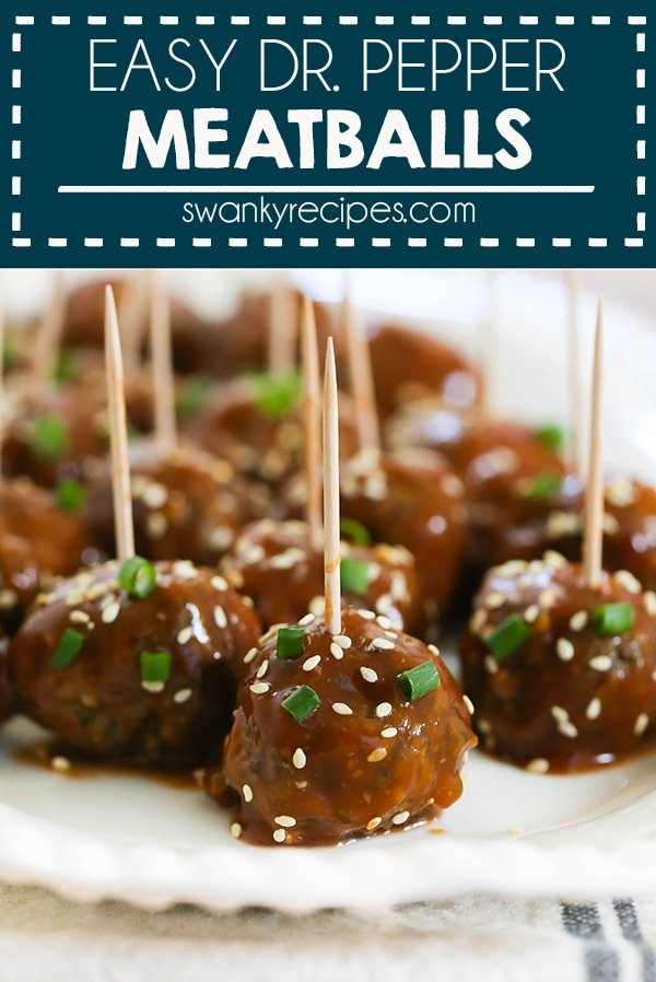 Dr. Pepper Meatballs - Savory cocktail meatballs in a sticky Dr. Pepper sauce. This homemade meatball recipe with a sweet and savory sauce is a favorite. Serve these elevated cocktail meatballs at your next party.