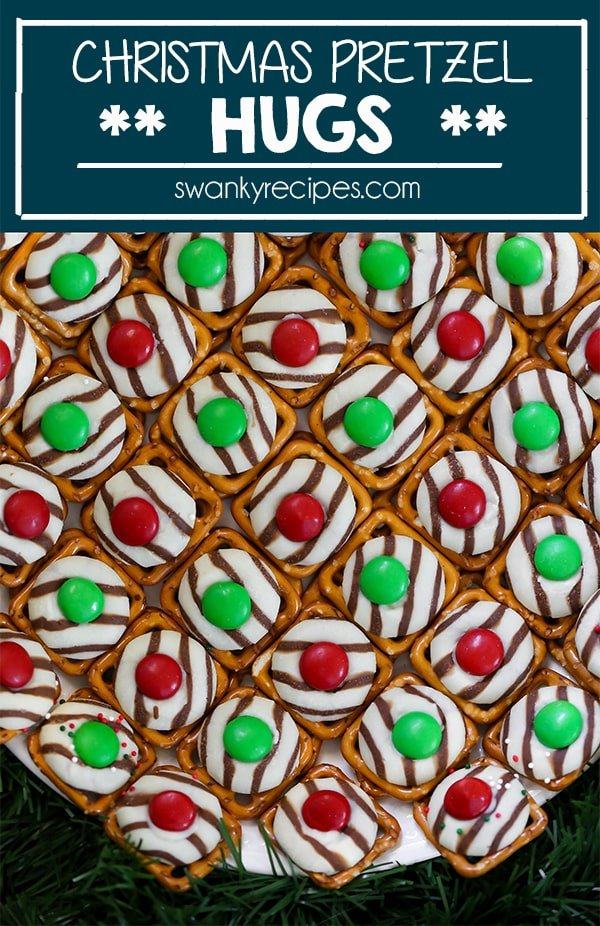 Christmas Pretzel Hugs - Easy, 10 minutes, 3 ingredients, Christmas candy. Pretzel Hugs are made with chocolate kisses, mini pretzels, and chocolate candies. A festive Christmas dessert to make last minute.