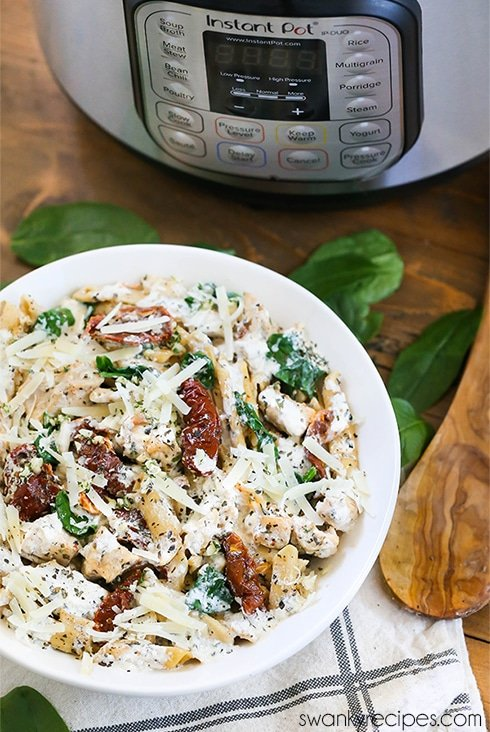 Instant Pot Italian Chicken Pasta - Quick instant pot chicken pasta recipe with an Italian Tuscan parmesan cream sauce.