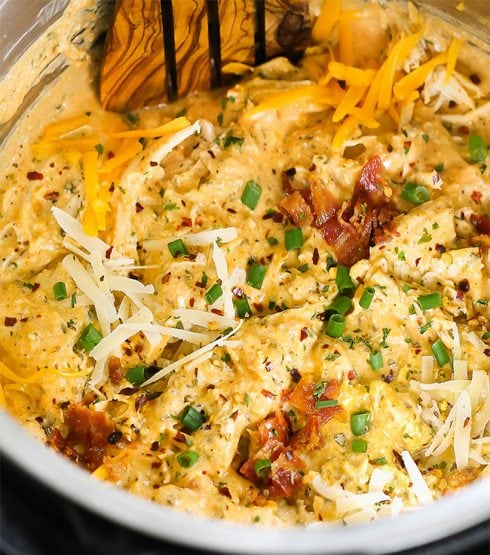 Instant Pot Crack Chicken recipe in a creamy rich sauce.