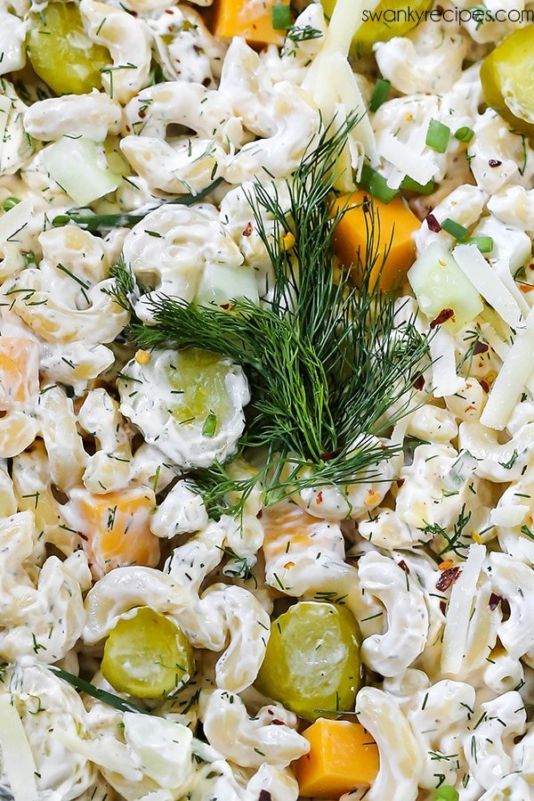 A delicious pasta salad close up. Dill Pickle Pasta Salad is a summer potluck recipe that can feed a crowd for a party.