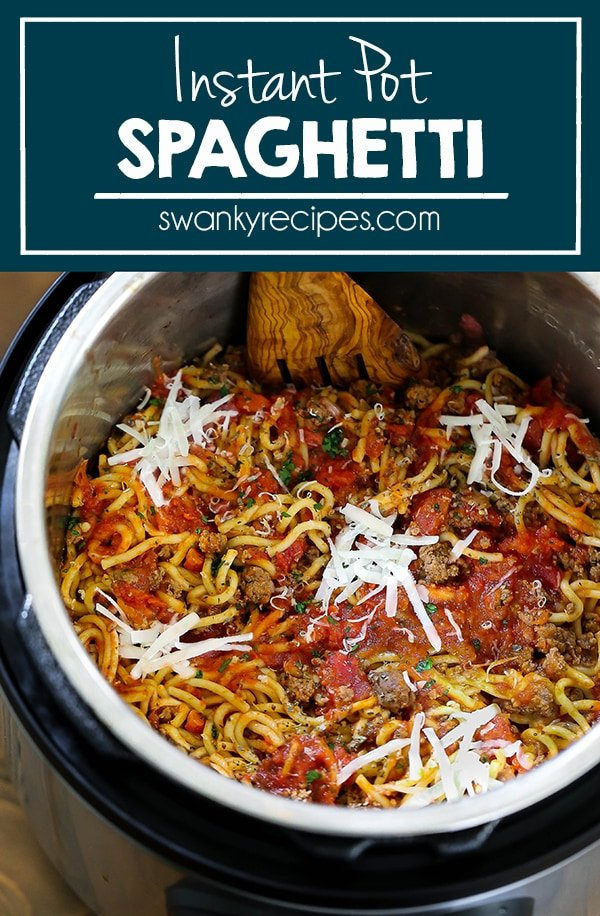 Instant Pot pressure cooker loaded with spaghetti noodles, ground beef, tomato sauce, and cheese.