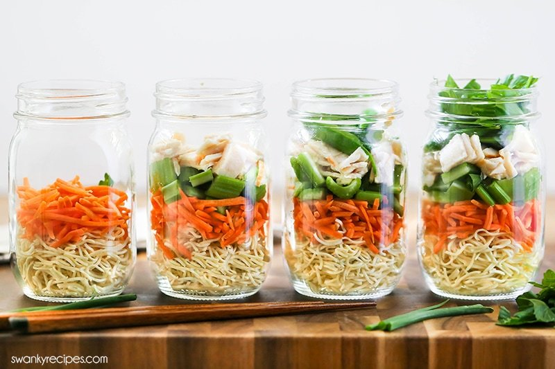 Korean Chicken Noodle Soup in mason jars. A how to Chicken Noodle Soup guide.