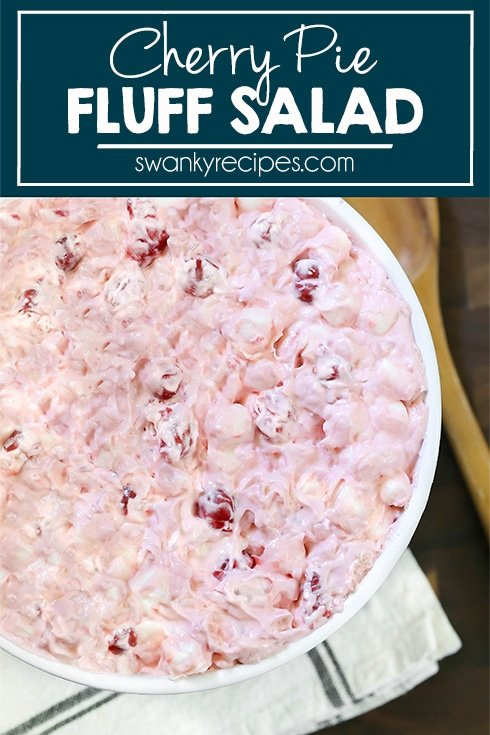 Cherry Fluff Salad ingredients mixed together and served in a bowl without pie filling on top.