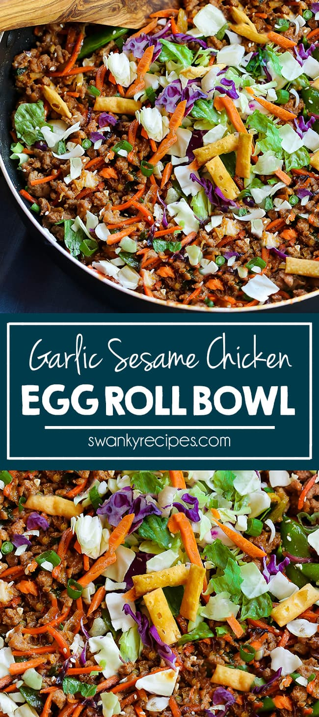 Egg Roll Bowl - Healthy Chinese egg rolls served in a bowl. Sauteed Chicken, cabbage, carrots, and snow peas tossed in a garlic sesame sauce with fried wontons.
