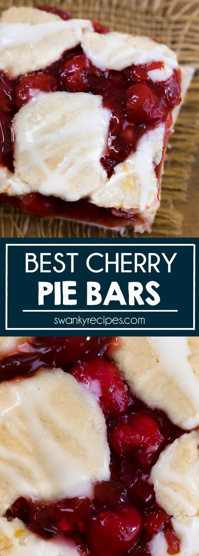 Cherries don't need to be in season to make CHERRY BARS. My favorite cherry bars recipe is made with cherry pie filling and taste so much better than making cherry pie. A simple shortbread sugar cookie crust with cherry pie filling and more sugar cookie topping.