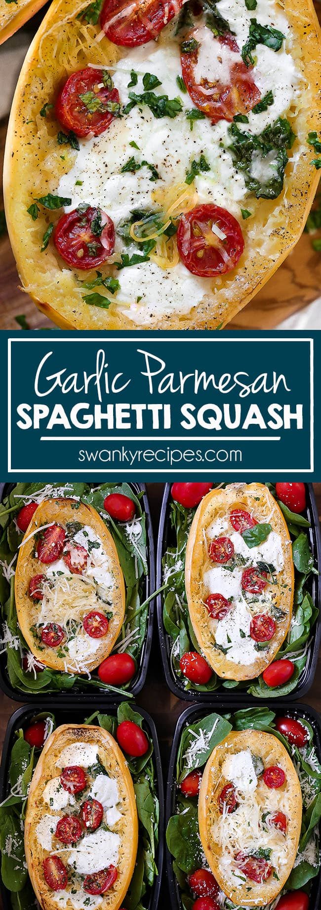 Garlic Parmesan Spaghetti Squash that is oven roasted for a healthy dinner. Prepared for meal planning and served in meal plan kits.