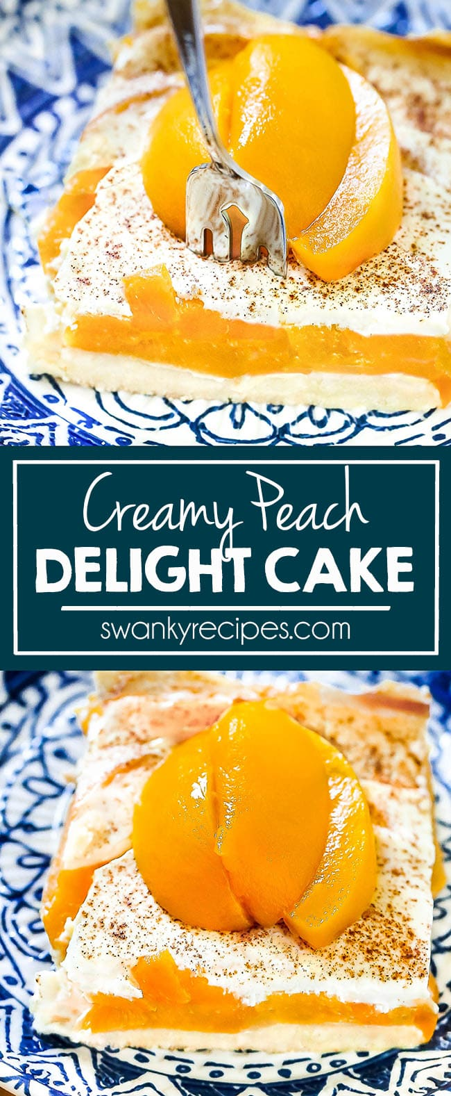 Peach Delight is a very easy cake recipe made with butter, yellow cake mix, canned peaches, sour cream, egg yolks, and cinnamon and it's the easiest cake this summer. A perfect casserole dessert cake with peaches and a creamy cool topping for summer parties and cookouts!