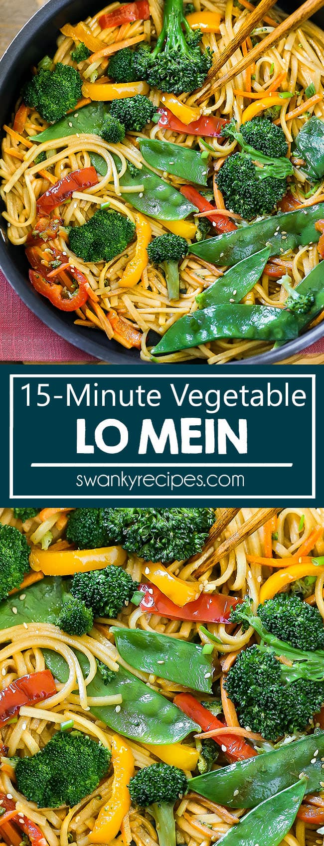 Best ever Lo Mein made in 15 minutes. This Chinese classic uses stir-fry vegetables tossed with noodles in a soy sauce, garlic, honey sauce.