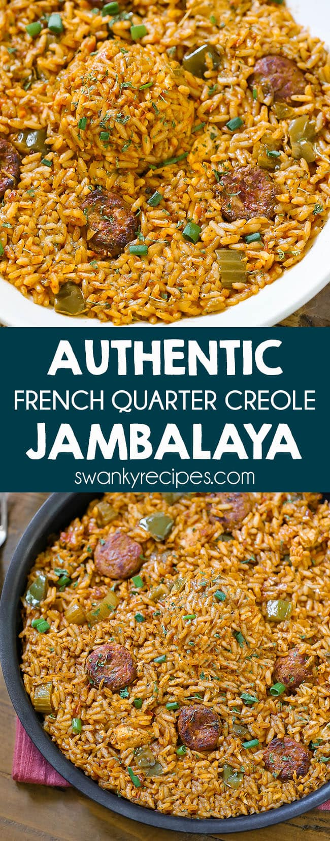 Creole Jambalaya - A taste of the French Quarter. Authentic New Orleans Jambalaya made with Andouille sausage, chicken, tomatoes, Creole seasoning, and rice. This jambalaya recipe is authentic and the real deal from a local in New Orleans. Do what the locals do and serve this with red beans and rice or cornbread.