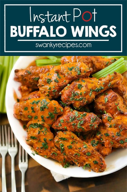 Instant Pot Buffalo Chicken Wings made juicy in just 13 minutes in the Instant Pot pressure cooker. Served for a quick dinner recipe in a bowl with celery.