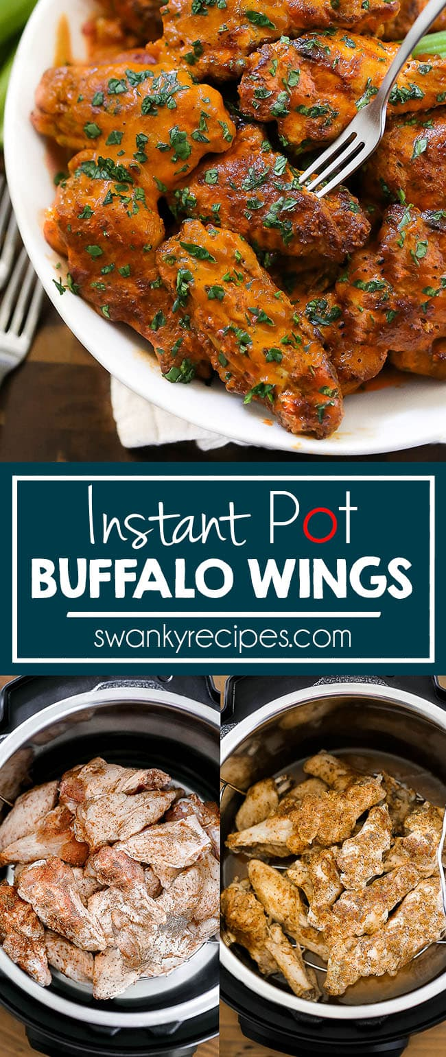 Instant Pot Chicken Wing made in 13 minutes and tossed in buffalo sauce. The BEST instant pot pressure cooker chicken wings recipe guide. Buffalo-style wings made the Instant Pot pressure cooker. Served with blue cheese dipping sauce and celery.