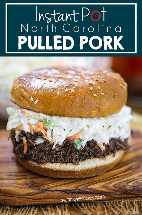 Classic North Carolina Instant Pot Pulled Pork. A quick and easy shredded pulled pork recipe made with the pressure cooker. A delicious vinegar sauce that is tangy and sweet. Served with coleslaw on a sandwich.