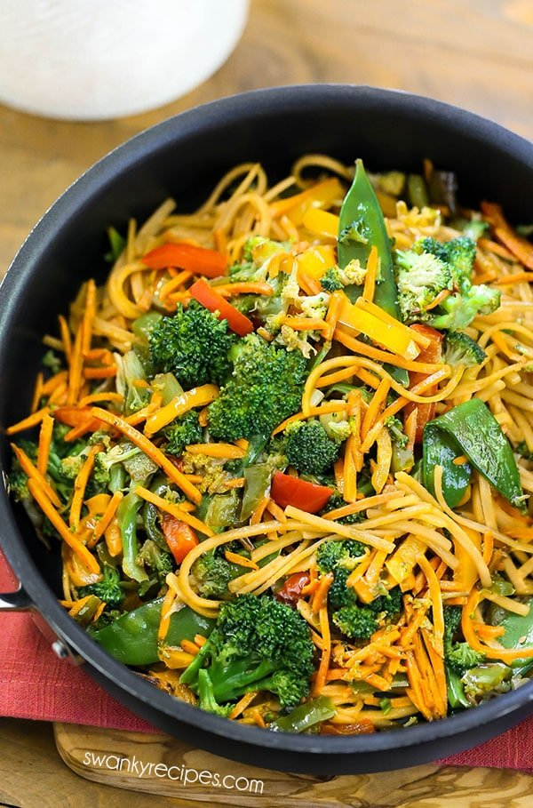 Chinese Lo Mein noodles tossed in a delicious Asian sauce with stir-fried vegetables.