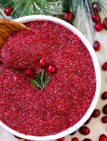 Sweet Cranberry Relish - Just 3-minutes for a quick and easy Thanksgiving side dish using raw cranberries. This fresh fruit cranberry relish is sweet and tangy and tastes way better than cranberry sauce and cranberry fluff salad.