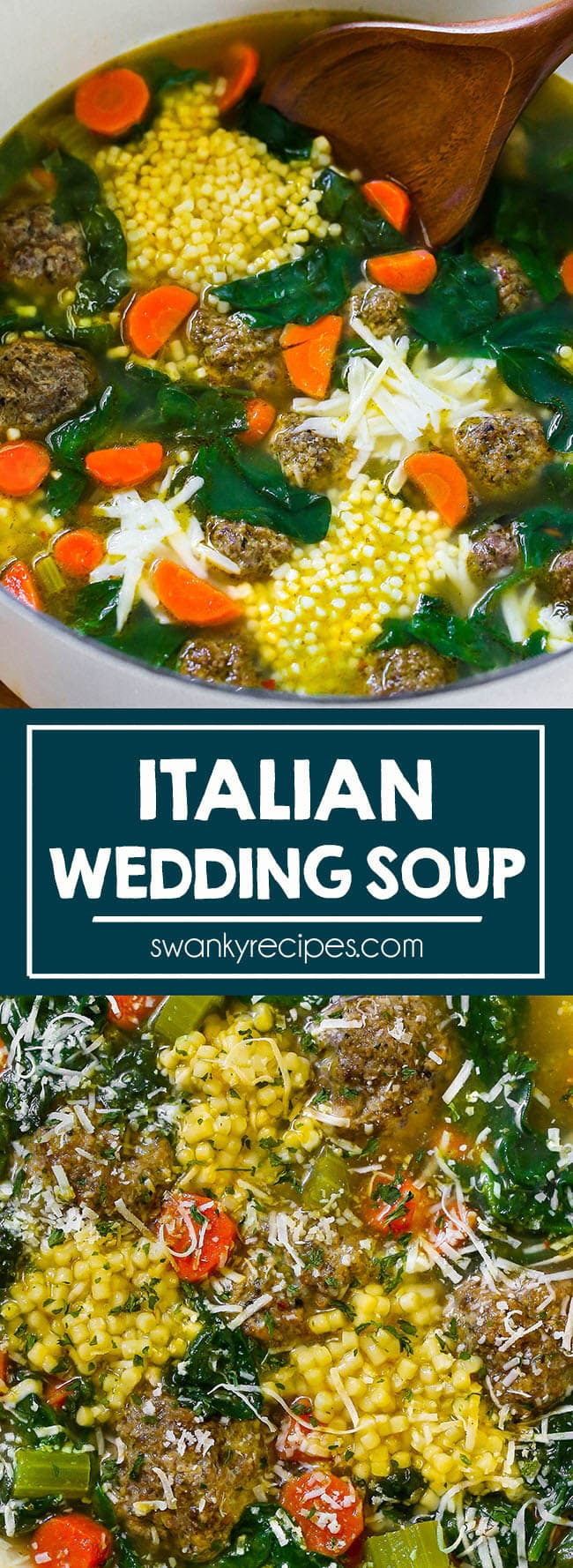 Italian Wedding Soup - The BEST most flavorful easy soup recipe. Italian style beef meatballs in a chicken and vegetable base soup with cheese and pasta. We make this at least a few times a month for dinner.