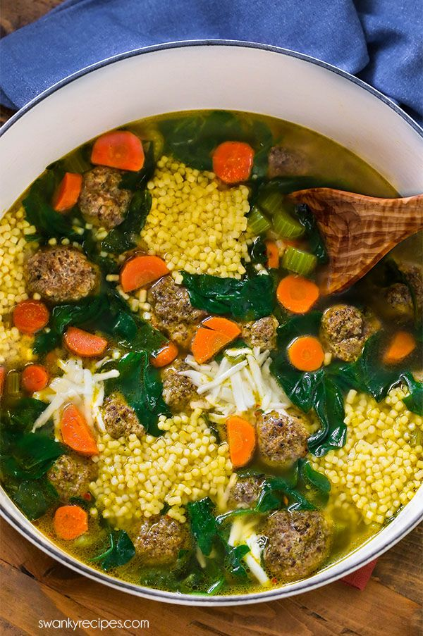 Delicious Italian Wedding Ball Soup - Everyone loves this chicken base soup with hearty vegetables, pasta, and Italian meatballs. Easy batch soup recipe.