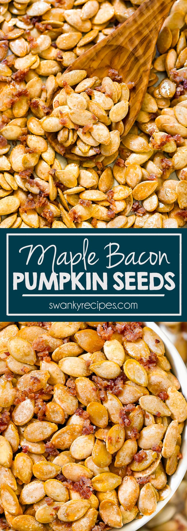 Maple Bacon Pumpkin Seeds recipe. A fun sweet and salty snack for Halloween with real maple syrup and bacon.