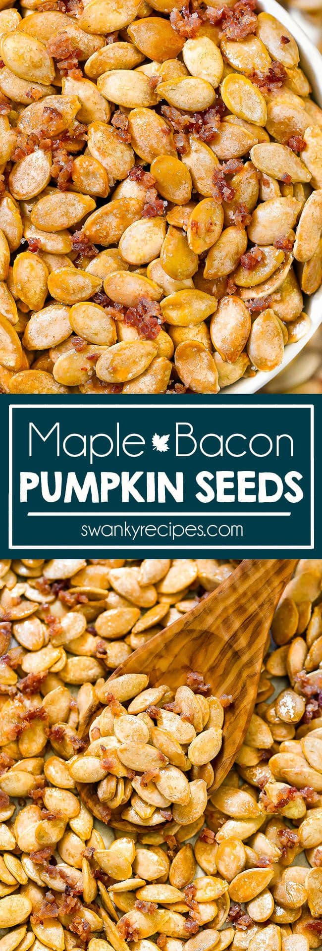 Sweet salty Maple Bacon Pumpkin Seeds. Roasted pumpkin seeds with real maple syrup, bacon grease, and bacon salt.