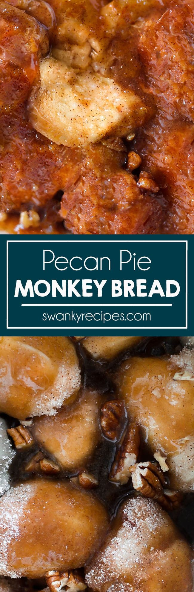 Pecan Pie Monkey Bread with homemade praline sauce. A quick and easy classic Christmas morning or brunch breakfast recipe. Praline sweet bread.