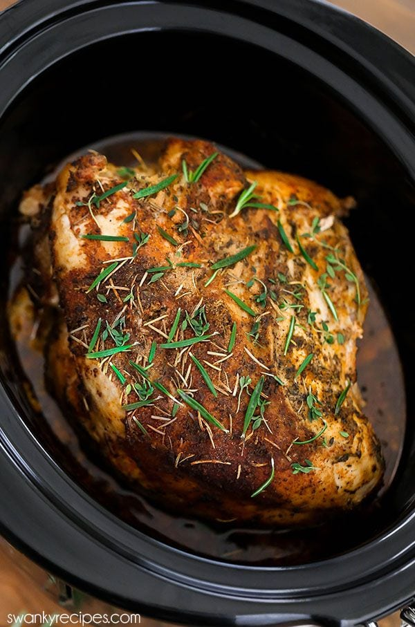 Thanksgiving Crock Pot Turkey Breast with homemade gravy. The BEST Italian turkey rub seasoning recipe for a moist flavorful holiday dinner. Cook a smaller portion turkey breast as a Thanksgiving dinner recipe.