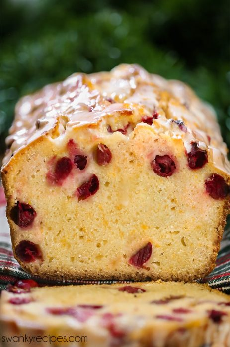 A loaf of Cranberry Orange pound cake bread served for Christmas.