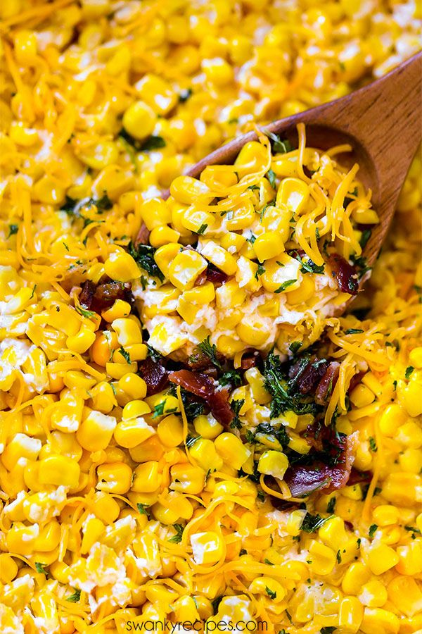 The creamiest Creamed Corn recipe. This 20 minute recipe is loaded with bacon, cheese, cream cheese, corn, butter, and seasoning. A wonderful and delicious side dish recipe addition to your Thanksgiving Day menu.