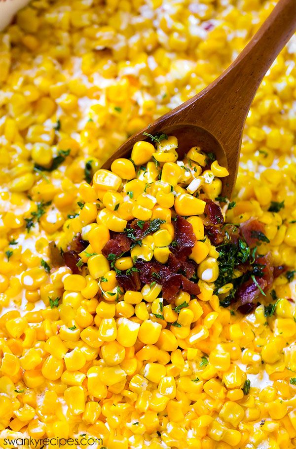 Easy 20 minute Creamed Corn with bacon and cheese. This hot dish is the perfect side to serve for Thanksgiving. A classic southern and Midwestern holiday corn recipe. Can be made in crock pot, oven, or stove top.