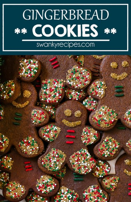 Rolled Gingerbread Cookie dough recipe with sprinkles and icing for Christmas.