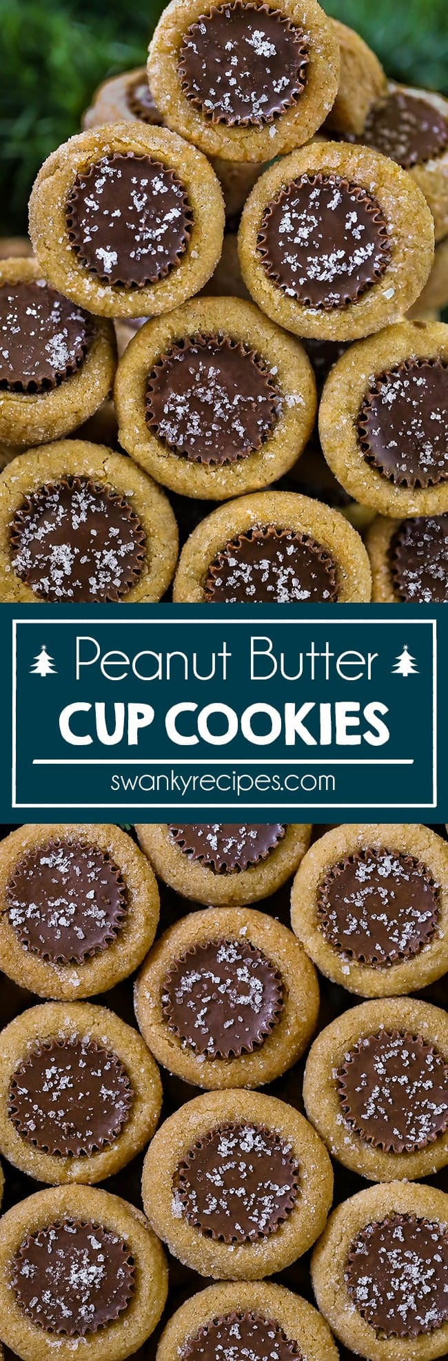 Old-fashioned Mini Peanut Butter Cup Cookies with chocolate covered peanut butter candy stuffed into the center of the cookie dough.