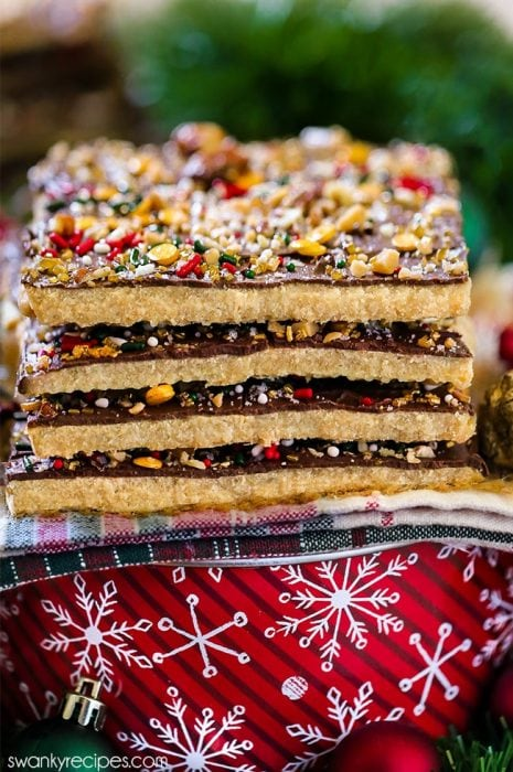 Christmas cracker shortbread with caramel toffee candy filling and chocolate. A quick, no fail classic holiday candy recipe with sprinkles.
