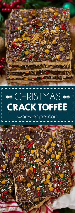 Christmas cracker candy stacked in holiday tins. Caramel filled toffee centers with melted chocolate and Christmas sprinkles. Best Christmas Crack recipe.