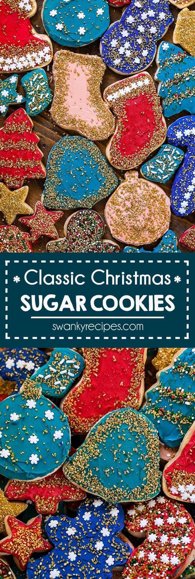 Christmas Sugar Cookie recipe. The BEST almond flavored cookies with no chill cookie dough. Quick, soft, thick Christmas Sugar Cookies.