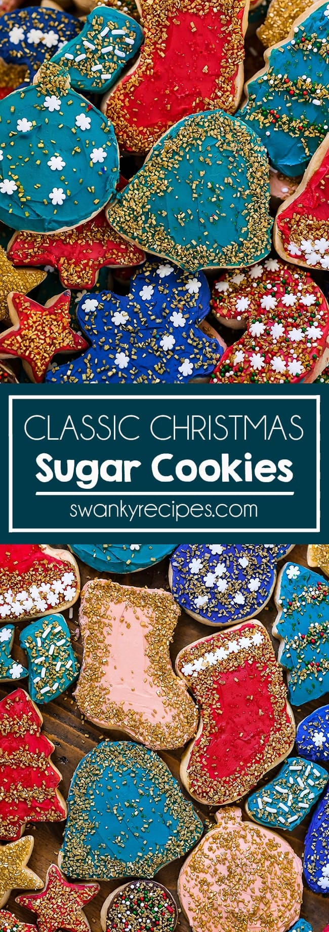 Classic Christmas Sugar Cookies like grandma used to make. A Christmas tradition, these cookie cutter sugar cookies are frosted in icing and sprinkles.