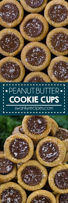 Peanut Butter Hideaway Cookies with mini Reese's peanut butter cups stuffed inside of a peanut butter cookie.