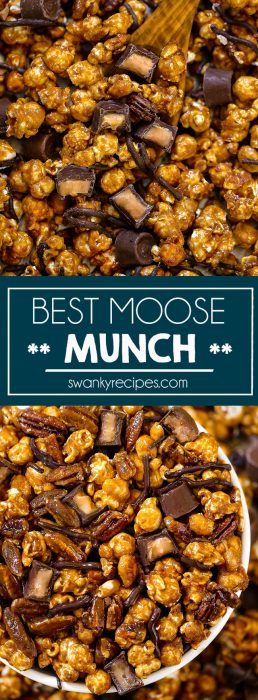 Quick and easy Christmas Moose Munch made with a no fail caramel toffee sauce covering popcorn with pecans, nuts, and chocolate candy.