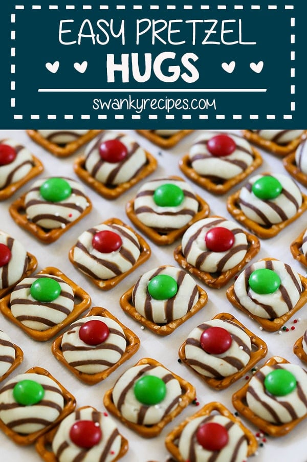 Simple Christmas recipes do exist. Keep Christmas baking easy with these Christmas Pretzel Hugs Cookies. Pretzels and Hershey kisses are all you'll need to make this budget savvy bite size holiday dessert recipe. Top them with festive Christmas M&M's to make them pop with festive colors. Even better, get the kids involved with this easy DIY Christmas craft for little ones.