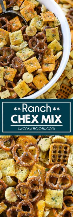 Ranch Chex Mix is a snack mixture of pretzels, nuts, chex cereal, and a variety of crackers tossed with butter and ranch seasoning then baked in the oven until crispy and served in a bowl.