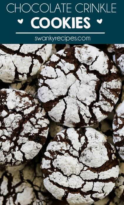 Don't skip these fun Chocolate Crinkle Cookies. These fudgy chocolate cookies with powdered sugar crinkle tops taste like your favorite brownie recipe. Even better, spike the crinkle cookie dough with extracts and baking flavors like peppermint, maple,or mint. You don't have to be a chocolate lover to enjoy these cookies.