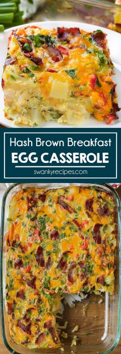 Egg bake breakfast casserole with hash brown potatoes, cheese, milk, vegetables, and seasoning.