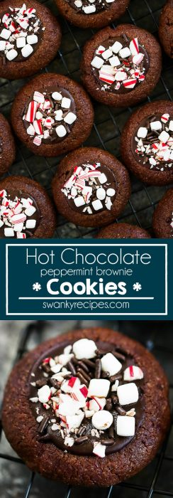 Hot Chocolate Cookies - Rich, soft, chocolate brownie cookies filled with peppermint ganache frosting, mini marshmallows, and candy canes. Best thumbprint Christmas cookie recipe.