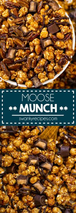 Moose Munch with caramel toffee popcorn. A gourmet Christmas snack mix.
