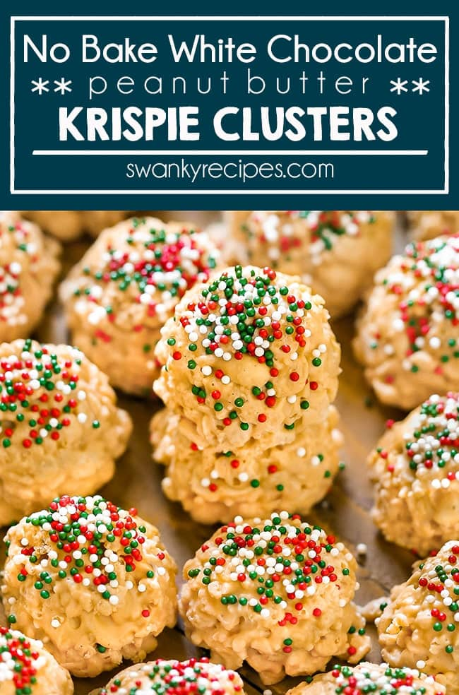 No bake peanut krispie clusters with white chocolate.