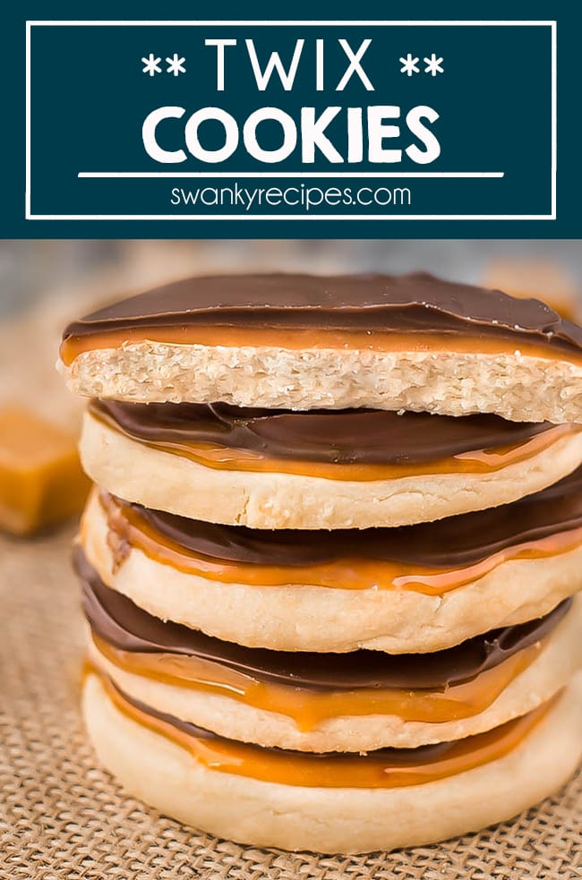 Twix Cookies with a shortbread cookie crust, warm caramel filling and milk chocolate.