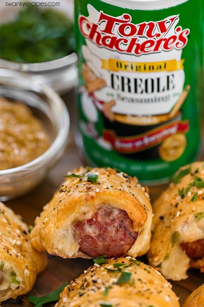 Creole Butter Smoked Pork Sausage Kolaches with creole mustard for football season.