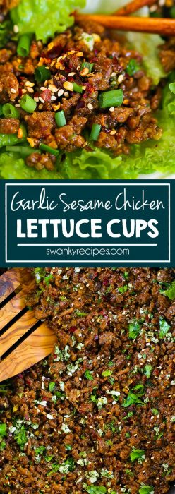 Asian Lettuce Wraps - Insanely delicious garlic sesame honey sauce with skillet cooked ground chicken or turkey. A healthy Asian wrap recipe.