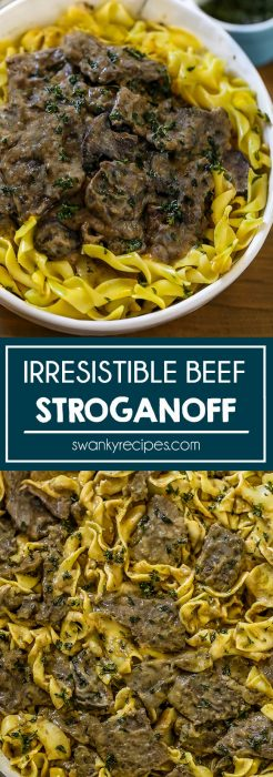 Beef Stroganoff in a rich and creamy sauce served with egg noodles.