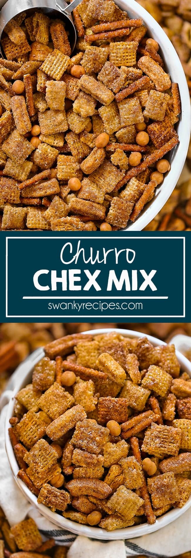 Churro Chex Mix with cinnamon sugar candy coated corn and rice cereal, pretzels, caramel candy, and churro cereal.
