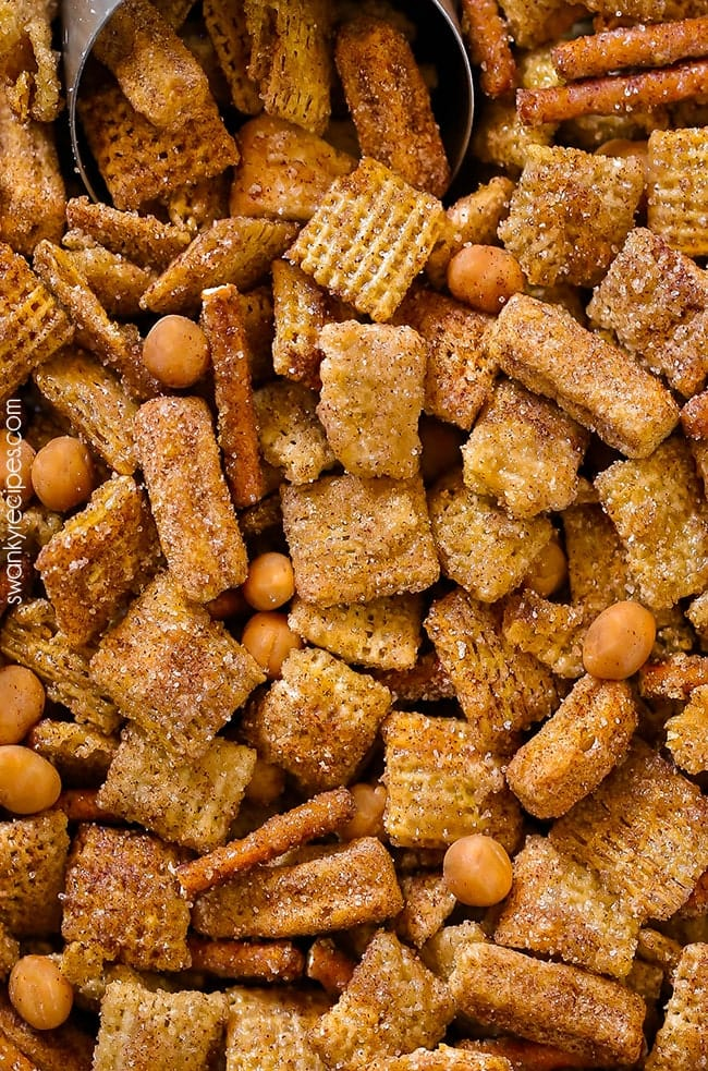 Sweet Churro Chex Mix Party Snack with caramel. A quick and easy sweet snack mix served for a party.